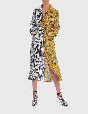Black and Yellow Contrast Zebra & Floral Print Midi Shirt Dress