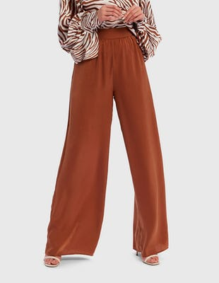 Tan Satin Wide Leg Trousers