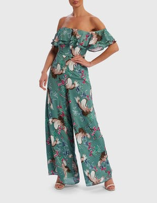 Mint Green Bird Print Ruffle Jumpsuit