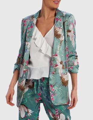 Mint Green Satin Bird Print Blazer Jacket