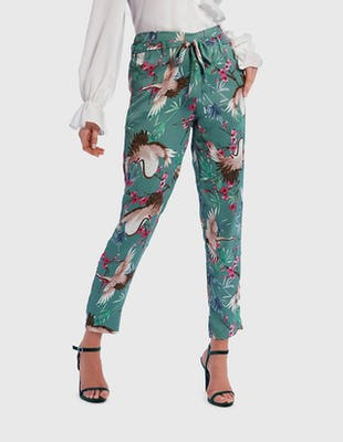 Mint Green Satin Bird Print Tailored Suit Trousers