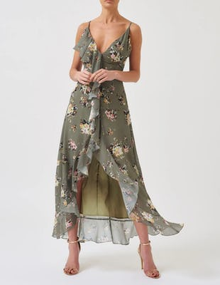Green Floral Print Ruffle Maxi Dress