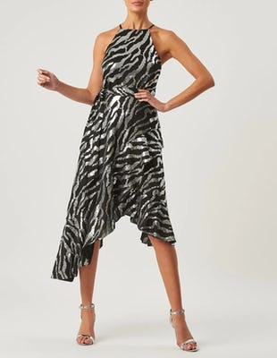 Black and Silver Zebra Print Ruffle Midi Halter Neck Dress