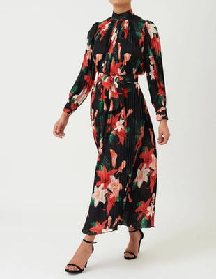 Black Floral Print Pleated Long Sleeve Maxi Dress