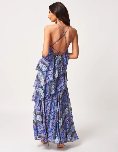 Blue and Pink Snake Print Strappy Ruffle Split Maxi Dress