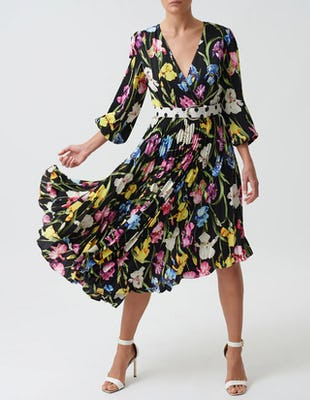 Black Floral Pleated Midi