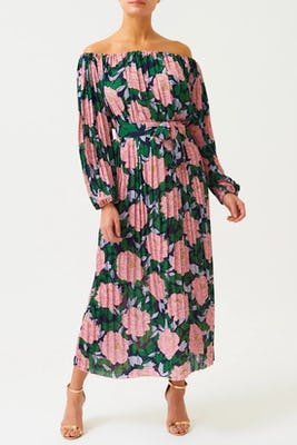Bardot-neck Black Floral Maxi Dress