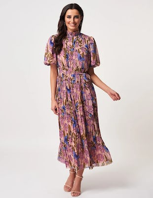 Nude Floral Pleated High Neck Maxi Dress