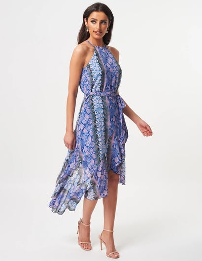 Blue and Pink Snake Print Ruffle Asymmetric Halter Neck Midi Dress