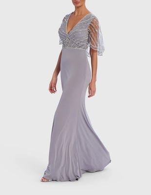 Grey Beaded Cape Maxi Dress