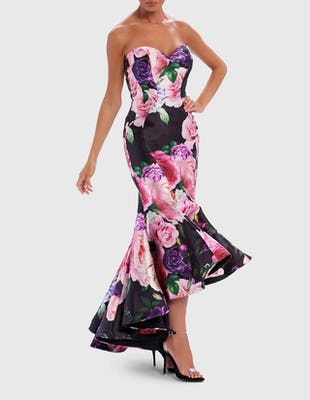 Black Floral Print Bandeau Sweetheart Fishtail Midi Dress