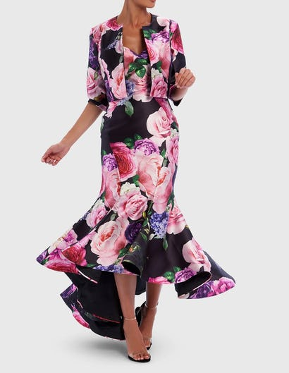 Black and Pink Floral Print Cropped Occasion Jacket