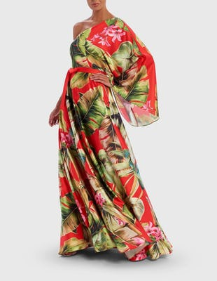 Red Tropical Palm Print One Sleeve Maxi Dress