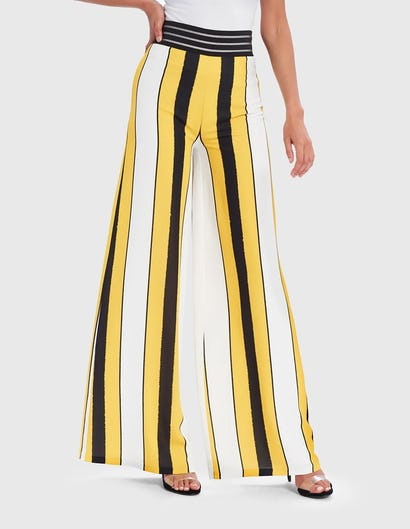 Yellow, Black and White Striped Wide Leg Trousers