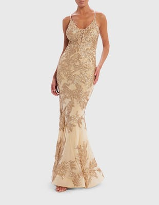 Gold Sequin Leaf Embellished Fishtail Maxi Dress