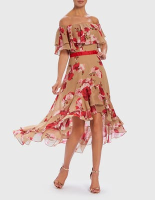 Nude and Red Floral Print Bardot Midi Dress