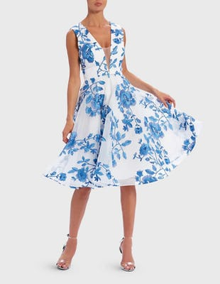 White and Blue Floral Embroidered Skater Dress