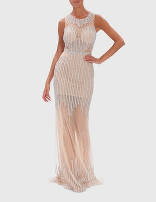 Nude Diamante and Pearl Embellished Floor-Length Maxi Dress