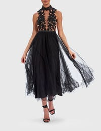 Black and Nude Embroidered Lace Chiffon Midi Dress