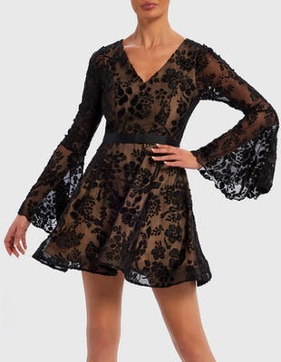 Black and Nude Floral Embroidered Long Sleeve Skater Mini Dress