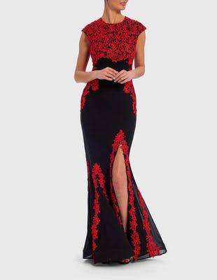 Black and Red Floral Lace Appliqué Fishtail Maxi Dress