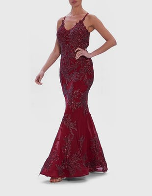 Burgundy Red Embellished Fishtail Maxi Dress