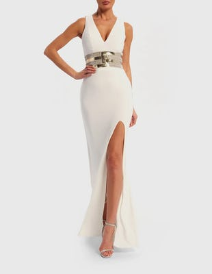 White Thigh Split Maxi Dress with Mirrored Waistband