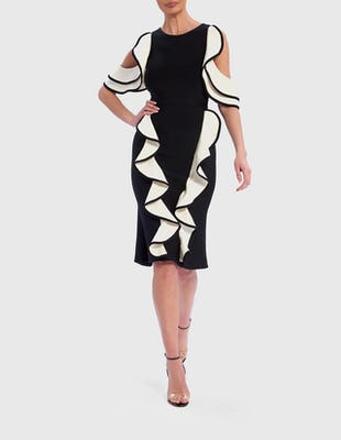 Black and White 3D Ruffle Cold-Shoulder Bandage Dress