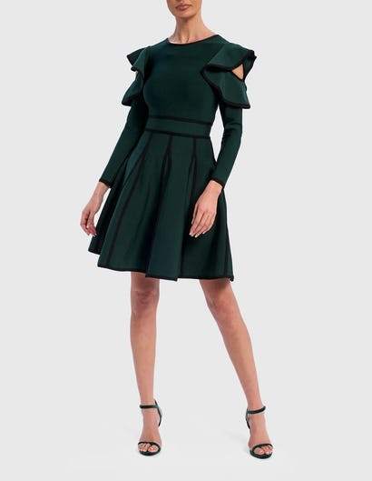 Emerald Green Cold-Shoulder Long Sleeve Bandage Skater Dress