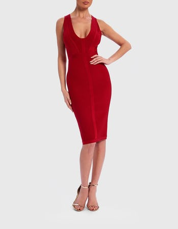 Red Ribbed Bandage Bodycon Midi Dress