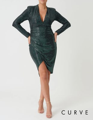 Curve - Emerald Green Sequin Long Sleeved Plunging Neckline Dress