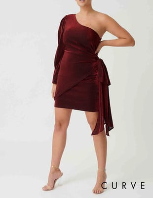 Curve - Red One Sleeve Draped Glitter Mini Dress