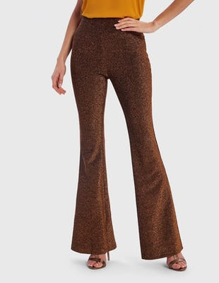 Bronze Metallic Flared Suit Trousers