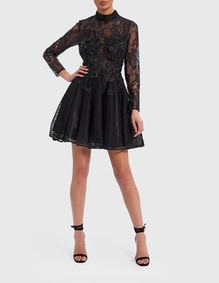Black Long Sleeve Lace Embellished Skater Dress