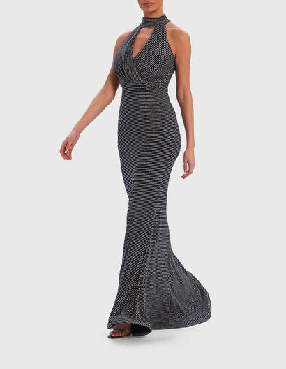 Black and Silver Glitter Fishtail Maxi Dress with Keyhole Neckline
