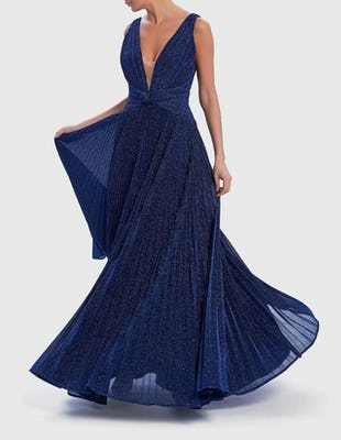 Navy Blue Glitter Metallic Pleated Maxi Dress