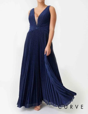 Curve - Navy Blue Glitter Metallic Pleated Maxi Dress