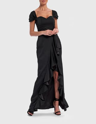 Black Ruffle Maxi Dress with Sweetheart Neckline