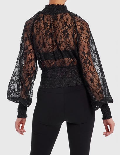 Black Sheer Lace Embroidered Bell Sleeve Top