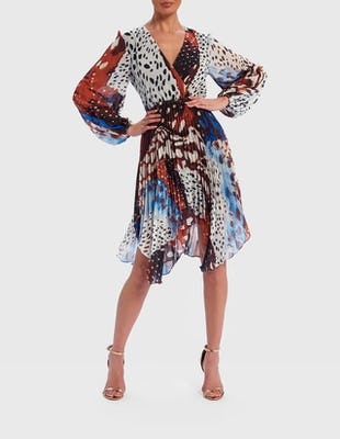 Blue and Brown Giraffe Print Long Sleeve Wrap Dress