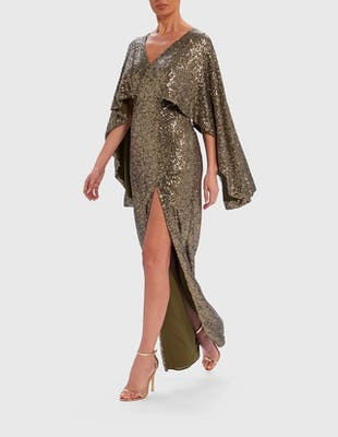 Khaki Sequin Embellished Batwing Sleeve Maxi Dress