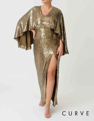 Curve - Khaki Sequin Embellished Batwing Sleeve Maxi Dress