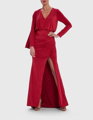 Red Long Sleeve Ruched Maxi Dress with Thigh Split