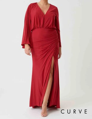 Curve - Red Long Sleeve Ruched Maxi Dress with Thigh Split