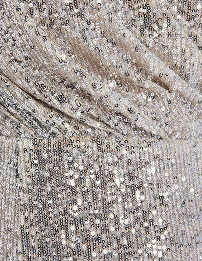 Silver Sequin One-Sleeved Midi Dress