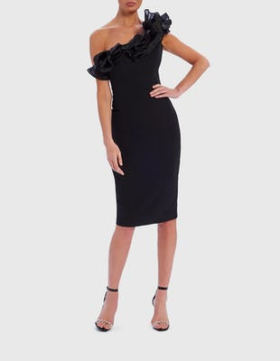 Black One-Shoulder Ruffle Bodycon Midi Dress