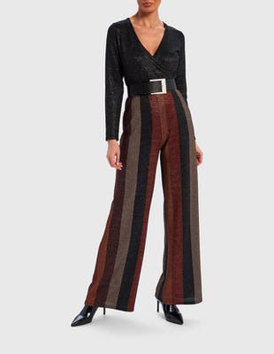 Brown and Black Contrast Stripe Glitter Jumpsuit