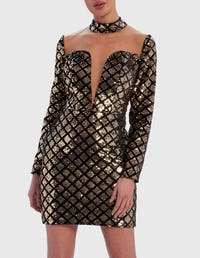 Gold and Black Geometric Sequin and Mesh Bodycon Dress