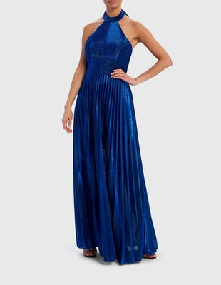 Blue Metallic Halter-Neck Pleated Maxi Dress