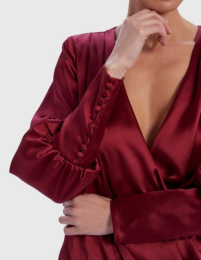 Burgundy Long Sleeve Satin Draped Mini Dress